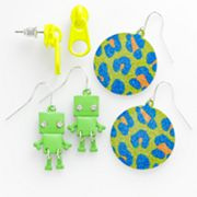 SO Silver Tone Zipper Stud, Robot and Disc Drop Earring Set
