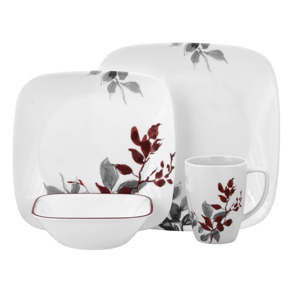 Lifestyles Kyoto Leaves Square 16 pc Dinnerware Set