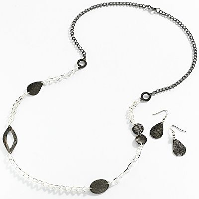 Croft and Barrow Two Tone Textured Long Necklace and Drop Earring Set