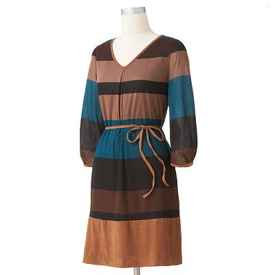 Melonie Faux-Suede Striped Dress