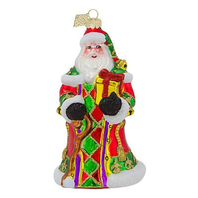 Sparkle Bright Traditional Santa Ornament