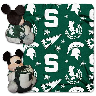 Michigan State Spartans Mickey Mouse Hugger Pillow with Fleece Throw Blanket by Northwest