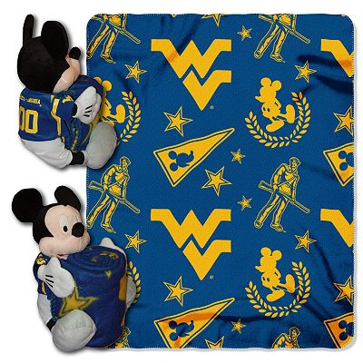 West Virginia Mountaineers Mickey Mouse Hugger Pillow with Fleece Throw Blanket by Northwest