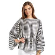 Chaps Striped Satin Tunic - Petite