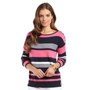 Chaps Striped Boatneck Sweater - Petite
