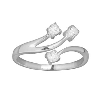 Silver Plated Cubic Zirconia Openwork Bypass Ring