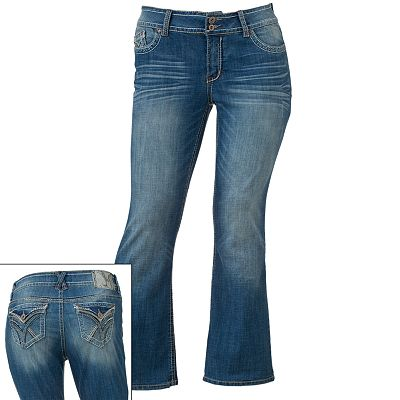 Hydraulic Sequins Bootcut Jeans - Juniors' Plus