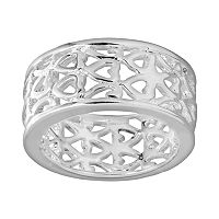 Silver Plated Openwork Heart Ring