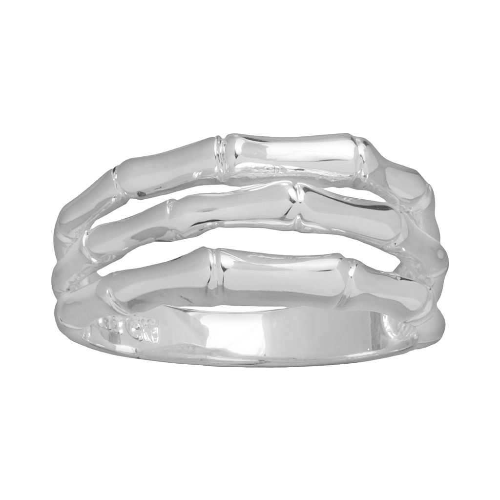 Silver Plated Openwork Multirow Ring