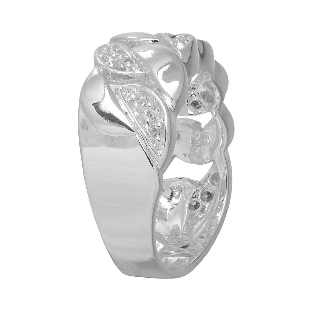Silver Plated Cubic Zirconia Openwork Ring