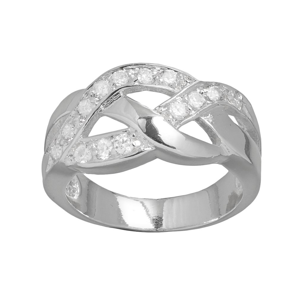 Silver Plated Cubic Zirconia Openwork Braided Ring