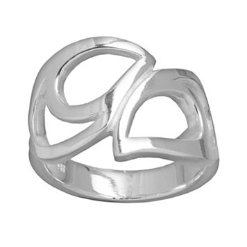 Silver Plated Openwork Teardrop Ring
