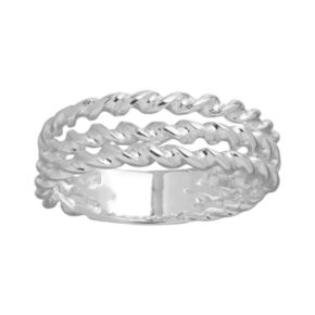 Silver Plate Openwork Twist Rope Ring