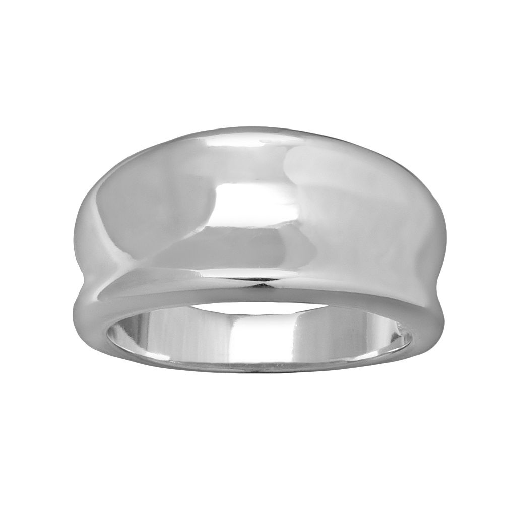 Silver Plated Concave Ring