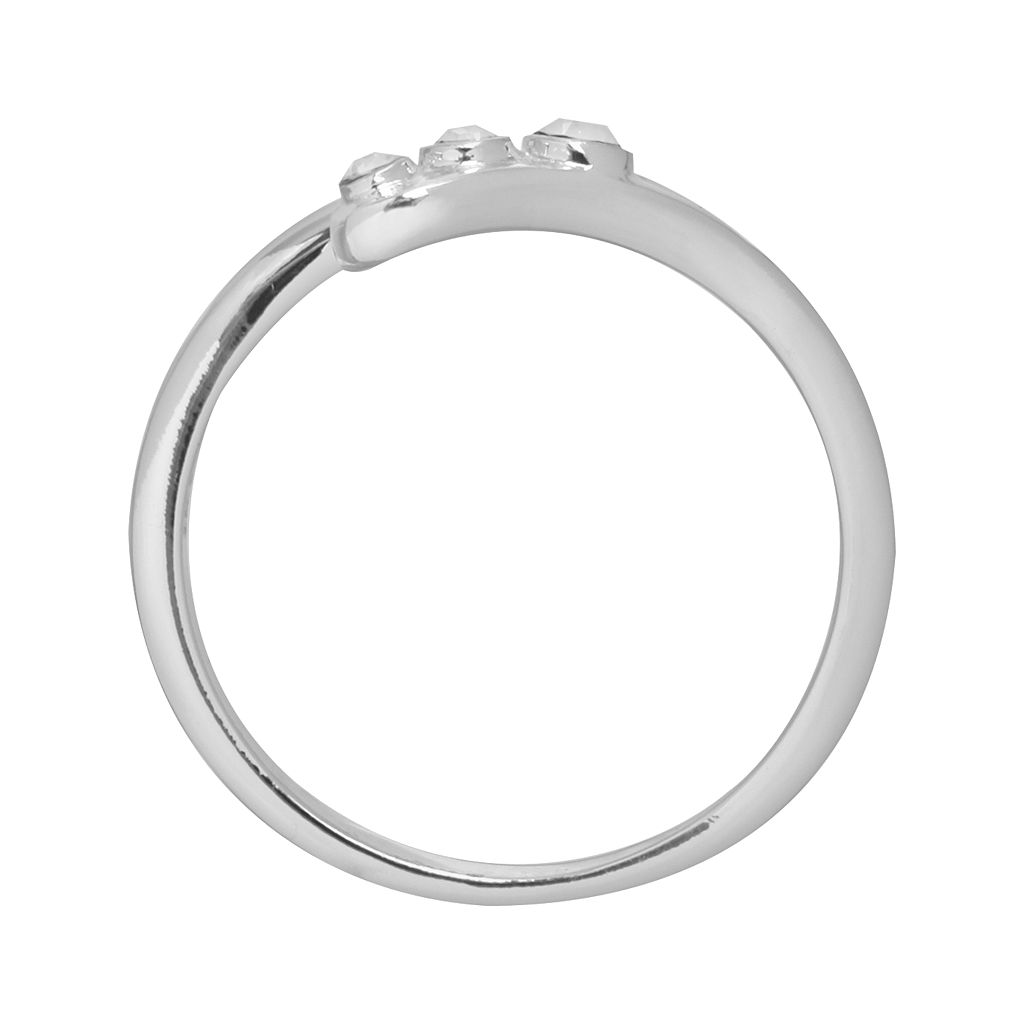 Silver Plated Crystal Bypass Ring