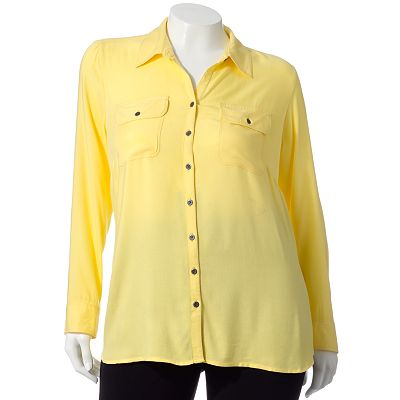 Croft and Barrow Solid Twill Shirt - Women's Plus