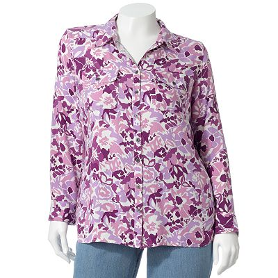Croft and Barrow Floral Twill Shirt - Women's Plus