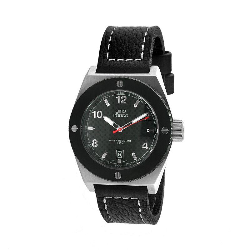 Gino Franco Marathon Stainless Steel Leather Watch - 9658BK - Men