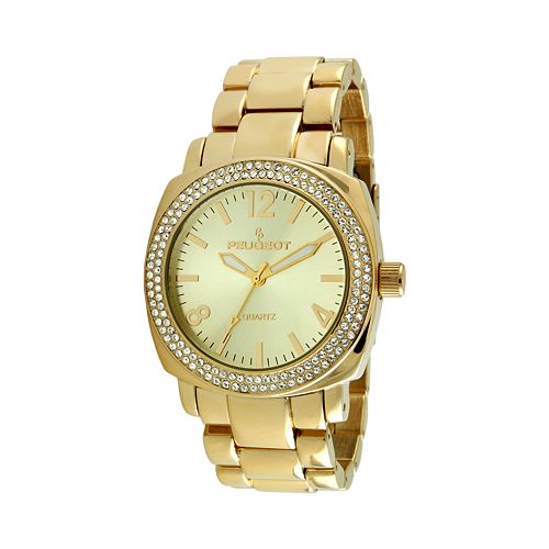 Peugeot Gold Tone Crystal Watch - Made with Swarovski Elements - 7075G - Women