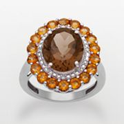 Sterling Silver Smoky Quartz, Citrine and Diamond Accent Oval Frame Ring