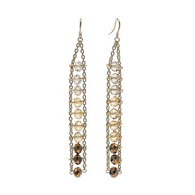 Jennifer Lopez Gold Tone Ombre Bead Linear Drop Earrings