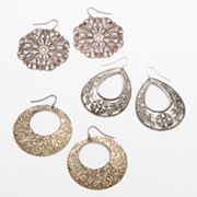 Mudd Tri-Tone Filigree and Textured Teardrop, Hoop Drop and Drop Earring Set