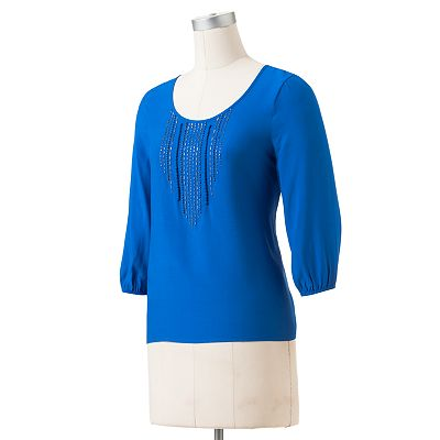 SONOMA life + style Embellished Drop-Tail Hem Top