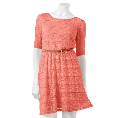 Rewind Lace Fit and Flare Dress - Juniors