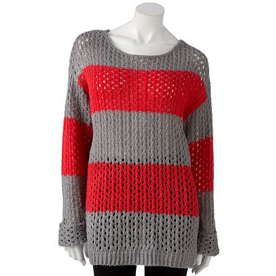 It's Our Time Striped Openwork Tunic Sweater - Juniors