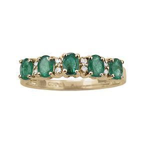 10k Gold Emerald and Diamond Accent Ring