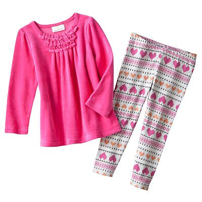 Jumping Beans Velour Babydoll Tunic and Fairisle Leggings Set - Toddler