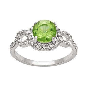 Sterling Silver Peridot Twist Halo Ring