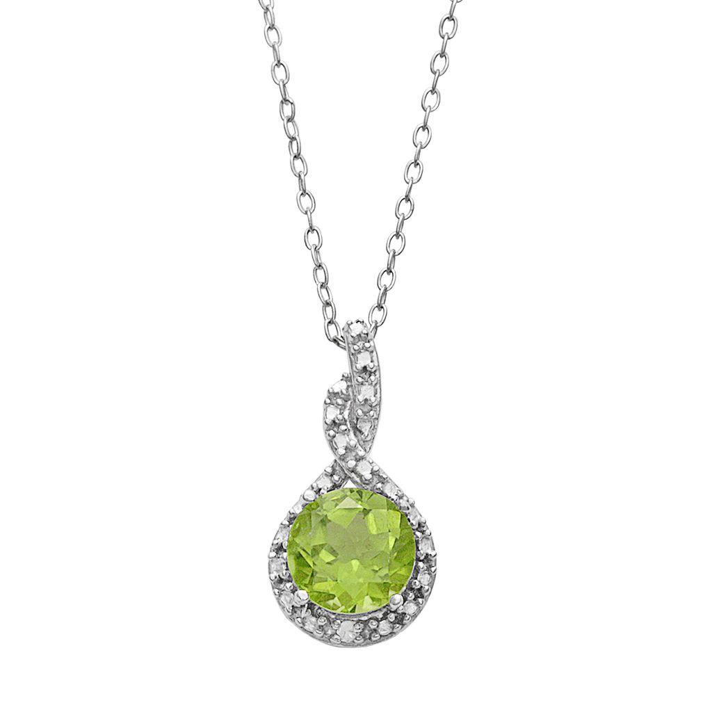 Sterling Silver Peridot & Diamond Accent Twist Frame Pendant