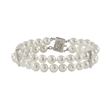 14k White Gold Freshwater Cultured Pearl & Diamond Accent Multistrand Bracelet