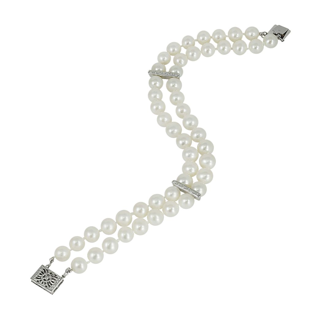 14k White Gold Freshwater Cultured Pearl and Diamond Accent Multistrand Bracelet