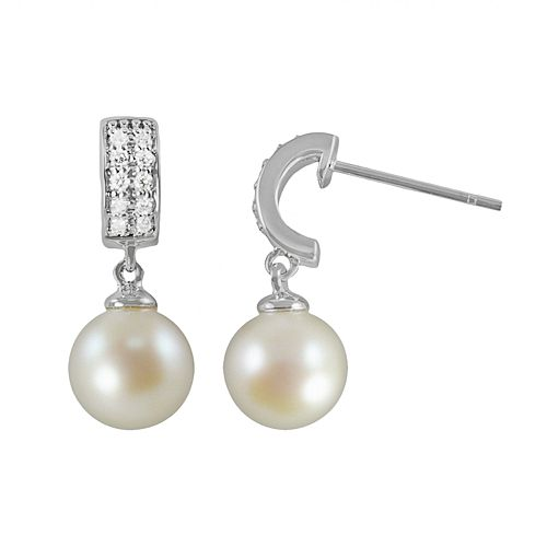 14k White Gold 1/7-ct. T.W. Diamond & Freshwater Cultured Pearl Drop Earrings