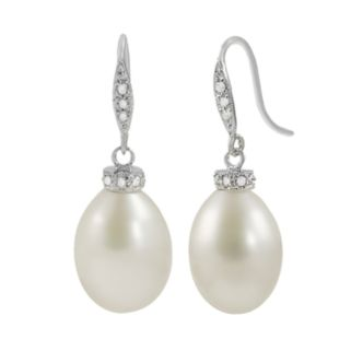 14k White Gold Freshwater Cultured Pearl and Diamond Accent Drop Earrings