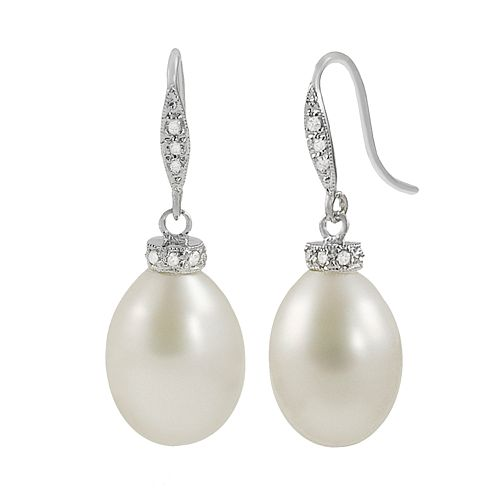 14k White Gold Freshwater Cultured Pearl & Diamond Accent Drop Earrings