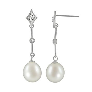 14k White Gold Freshwater Cultured Pearl & Diamond Accent Linear Drop Earrings