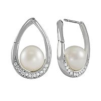 14k White Gold .24-ct. T.W. Diamond & Freshwater Cultured Pearl Teardrop Earrings