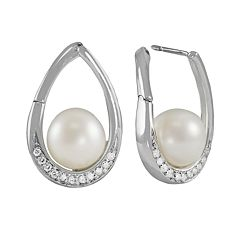 14k White Gold .24 ctT.W. Diamond & Freshwater Cultured Pearl Teardrop Earrings