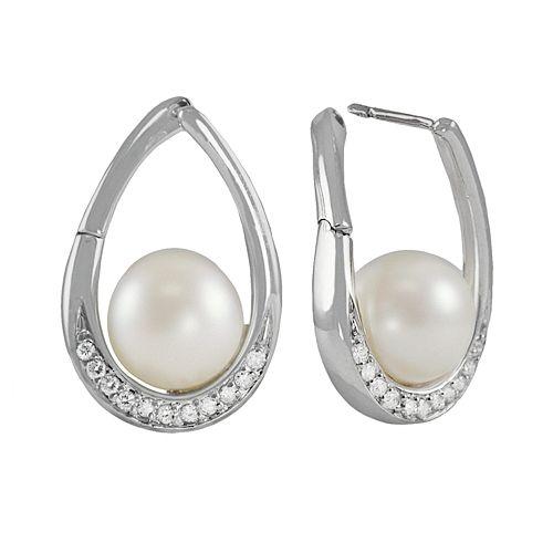 14k White Gold .24-ct. T.W. Diamond & Freshwater Cultured Pearl Teardrop Earrings