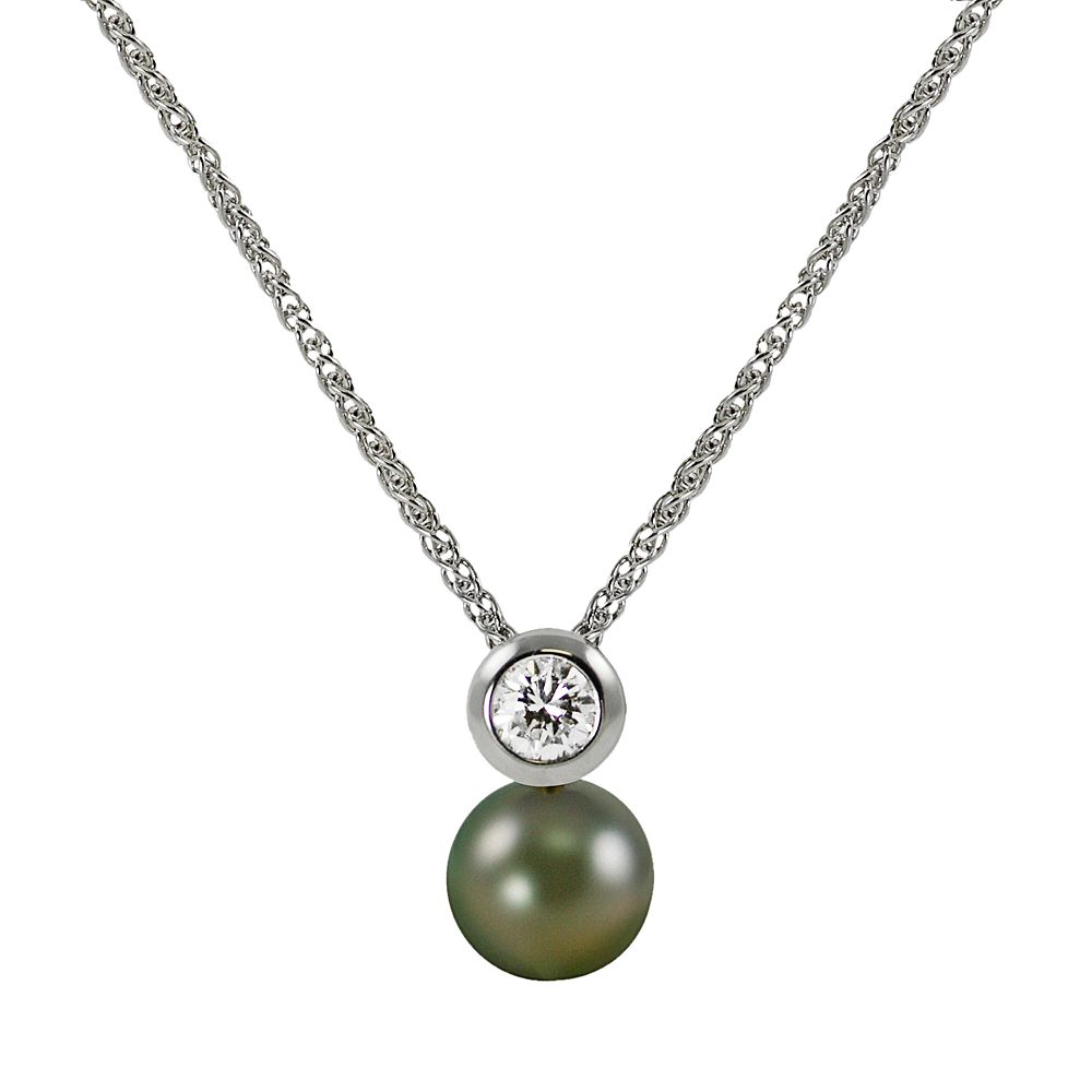 14k White Gold 1/5-ct. T.W. Diamond & Tahitian Cultured Pearl Pendant