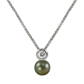 14k White Gold 1/5-ct. T.W. Diamond & Tahitian Cultured Pearl Pendant