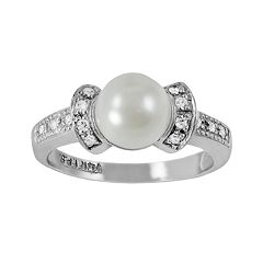 14k White Gold .11 ctT.W. Diamond & Akoya Cultured Pearl Ring