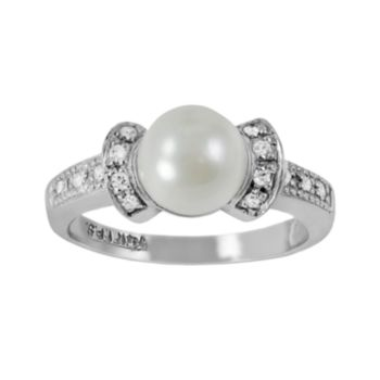 14k White Gold .11-ct. T.W. Diamond and Akoya Cultured Pearl Ring
