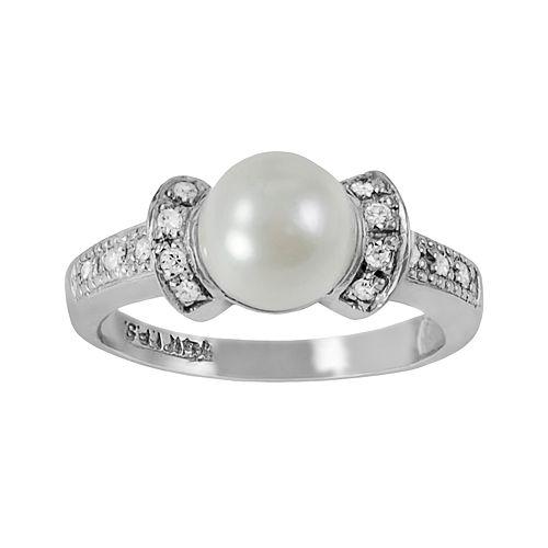 14k White Gold .11-ct. T.W. Diamond & Akoya Cultured Pearl Ring