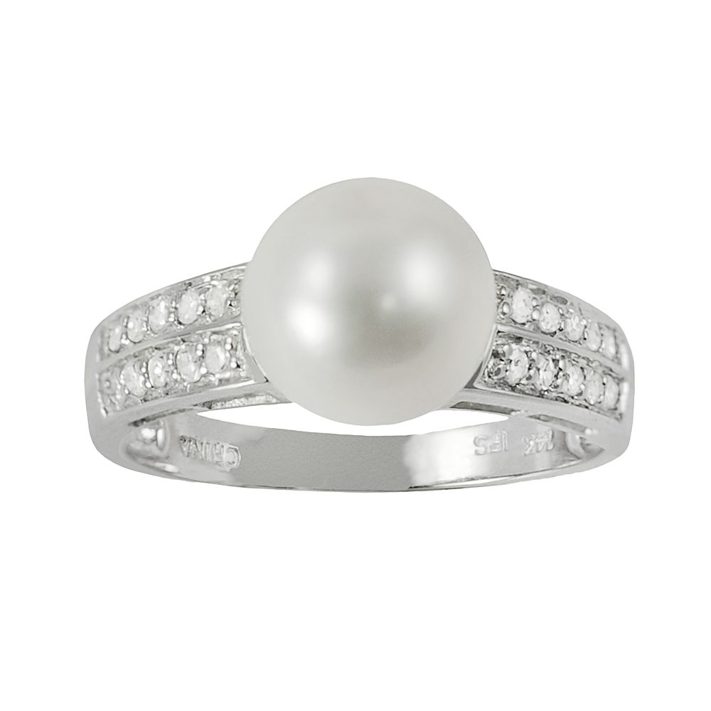 14k White Gold .21-ct. T.W. Diamond & Freshwater Cultured Pearl Ring