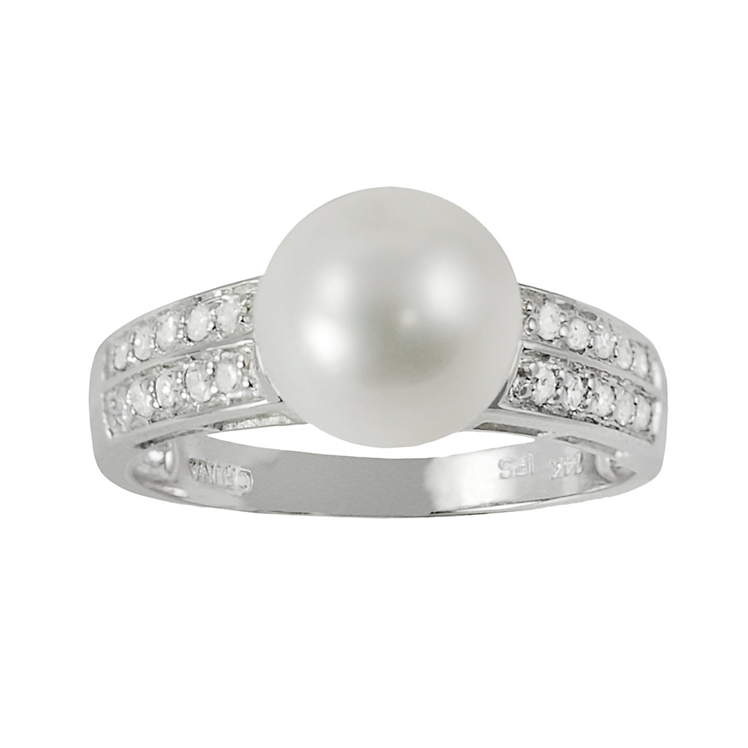 14k Solid Gold CZ /& 4 Cultured Pearl Eye Catching Ring Jewelry