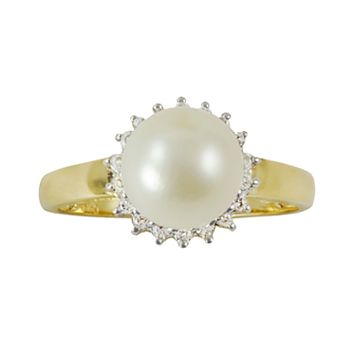 10k Gold .18-ct. T.W. Diamond & Freshwater Cultured Pearl Ring
